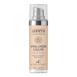 Lavera Lehký tekutý make-up s kyselinou hyaluronovou (30 ml) - porcelánová + Prázdný obal make-upu recyklujte v kontejneru na plast